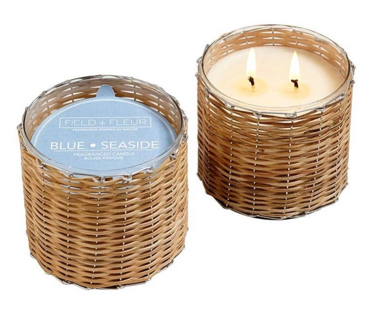 Blue seaside Handwoven 2 wick candle