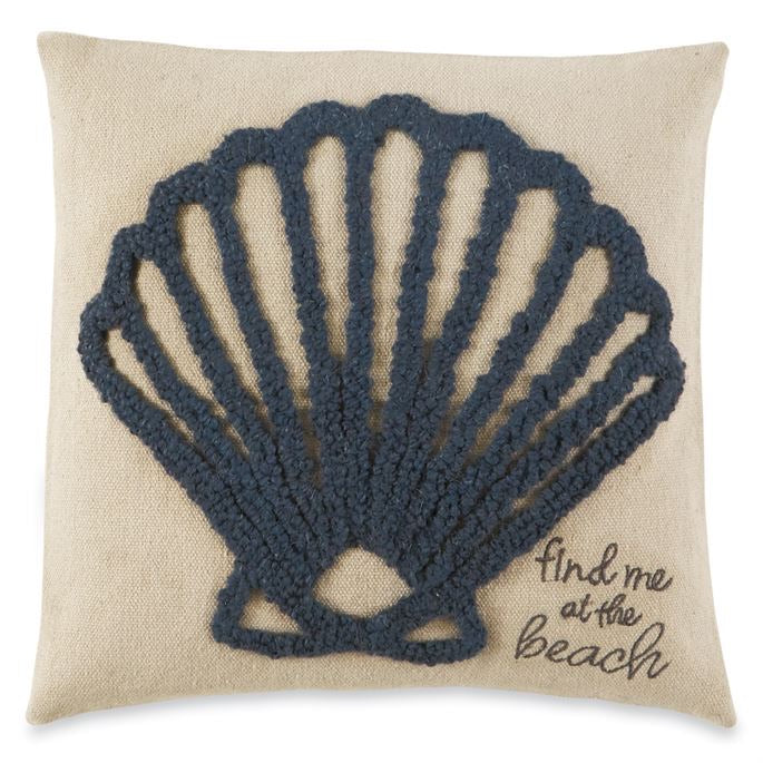 Mudpie Find me at the beach hooked pillow