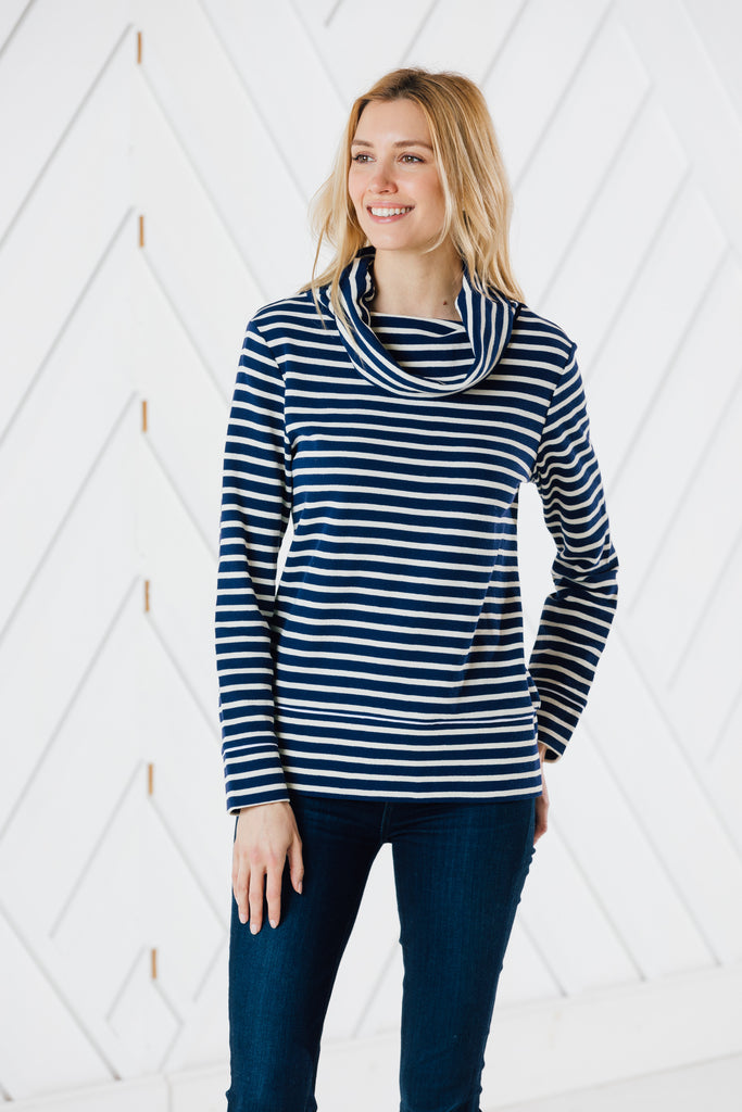 Cowl neck stripe top