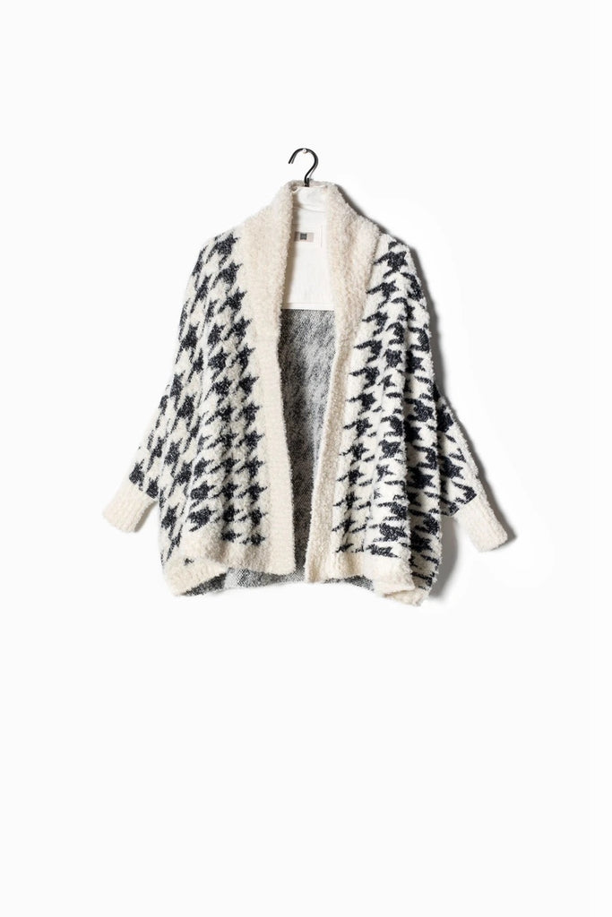 Boucle Houndstooth Cape Cardigan