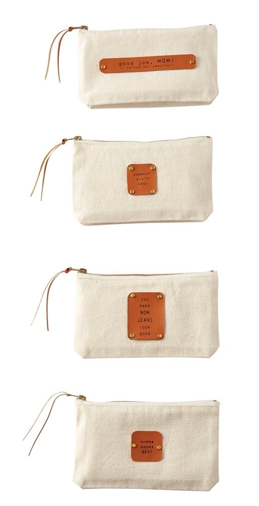 MudPie Mom Canvas & Leather Pouch (options)