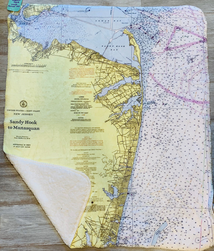 Jersey Shore Local map baby blanket