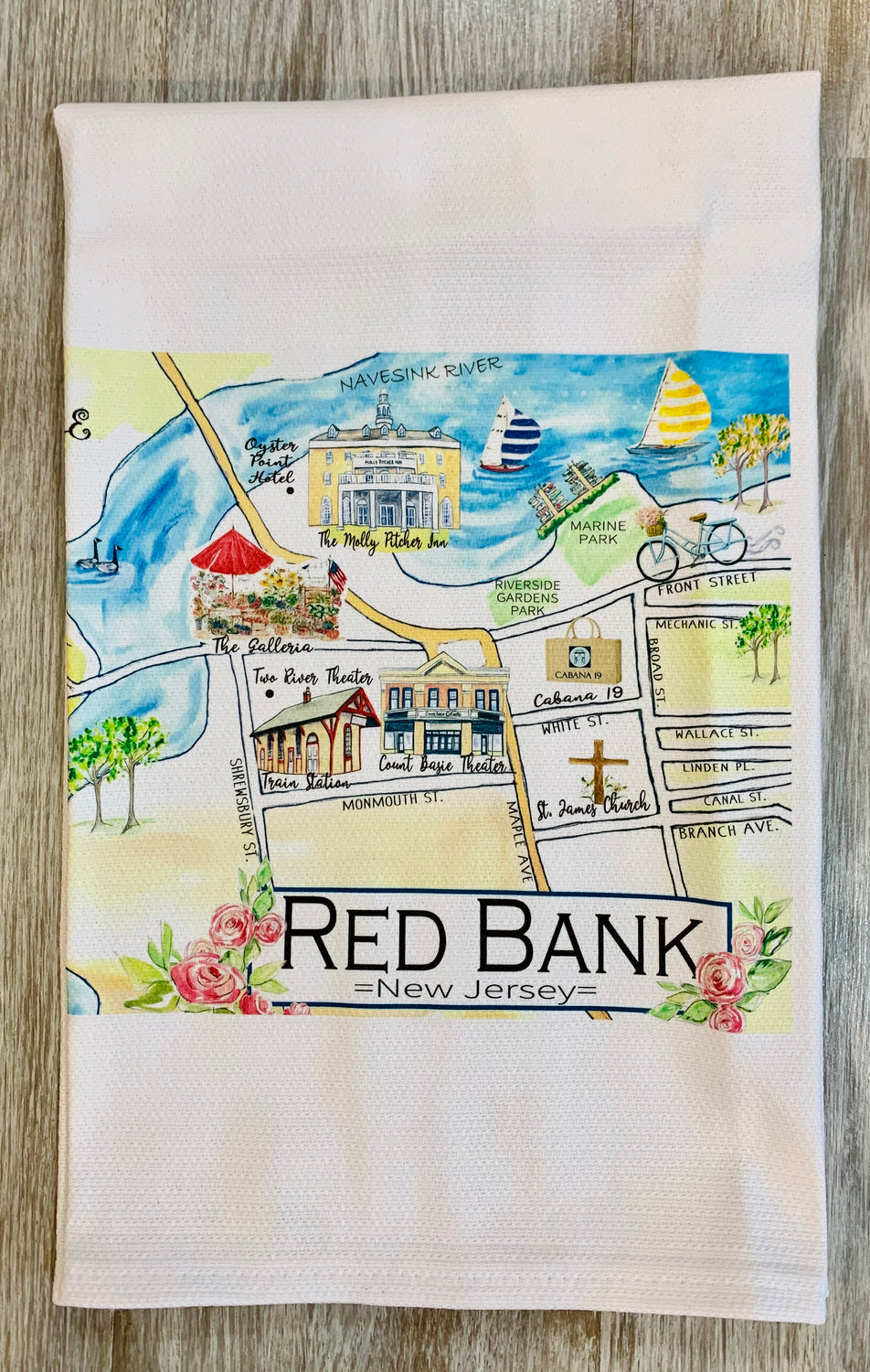 Red Bank Map Kitchen dish towel