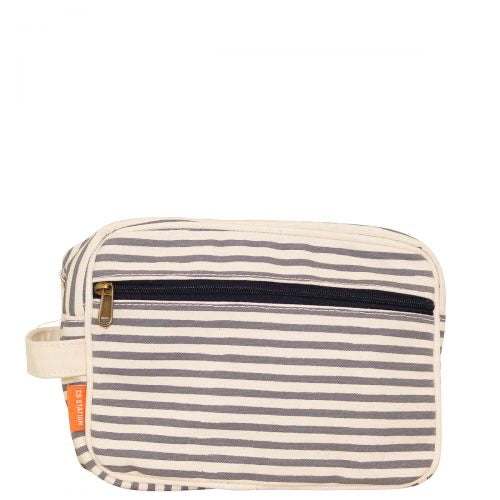 Canvas Lined Striped Travel kit (two colors)