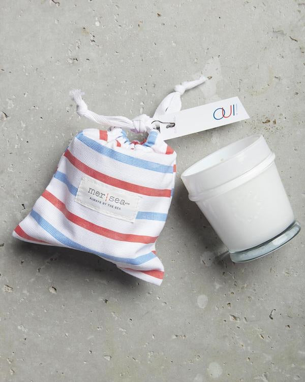 Mer-Sea OUI! 7oz Striped Sandbag Candle