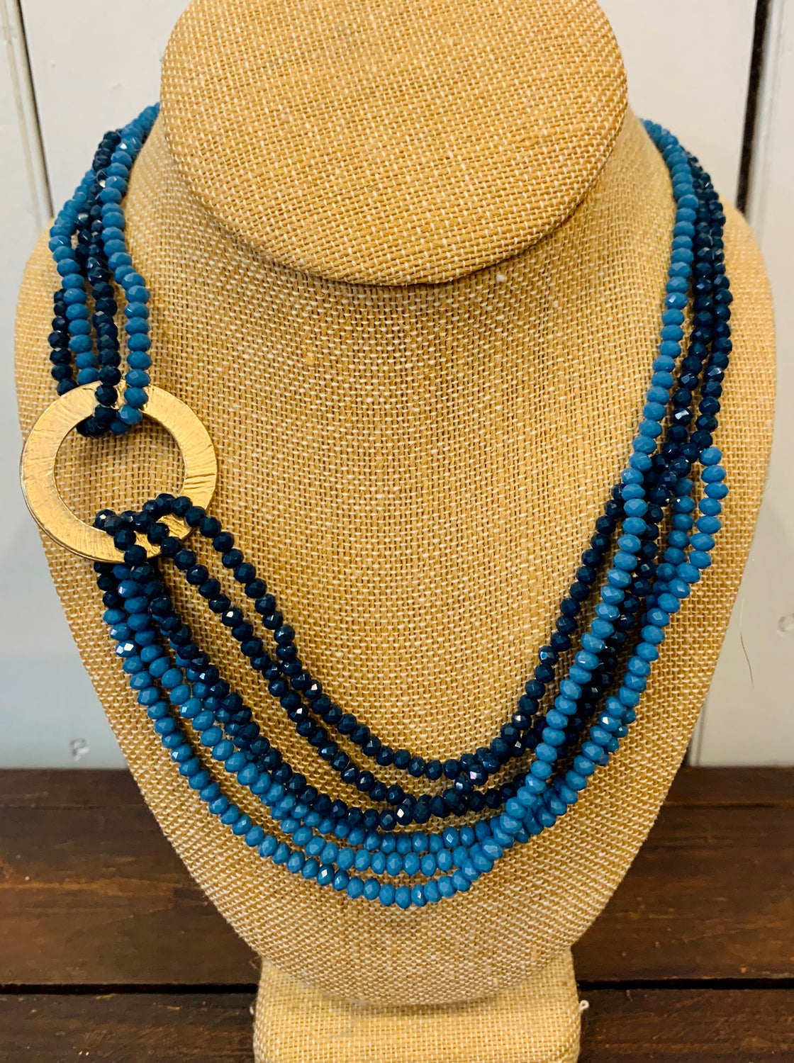 Gold disc blue beaded short layered necklace