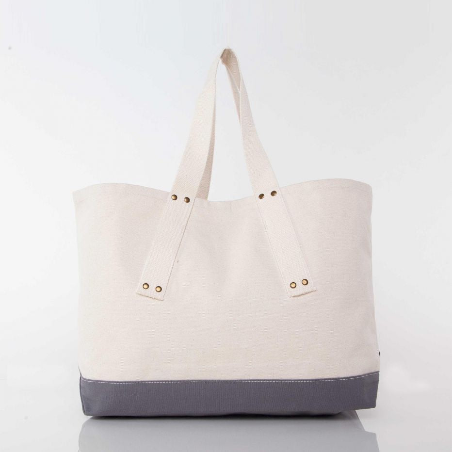 Canvas Grommet Tote- gray