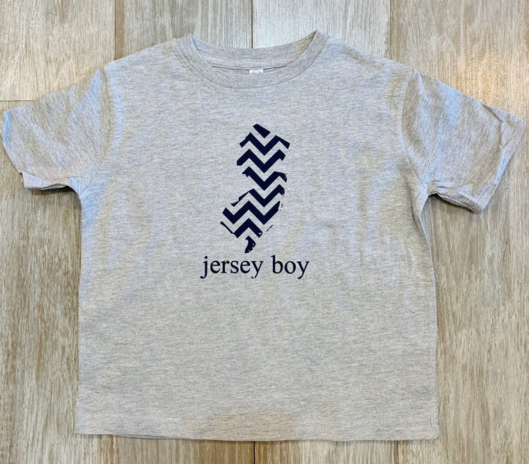 Jersey Boy w chevron state of NJ boys tee