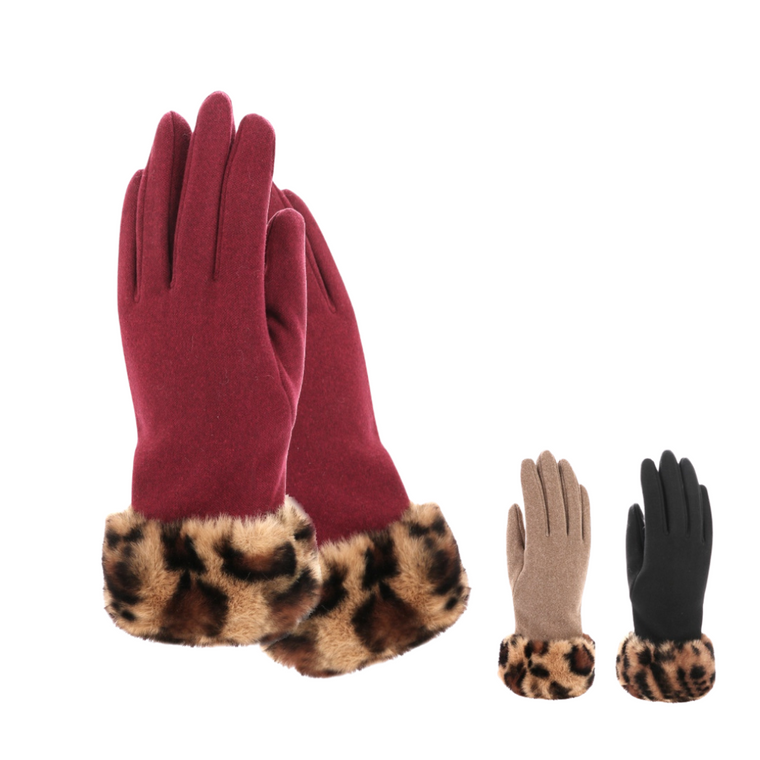 Leopard fur trim glove