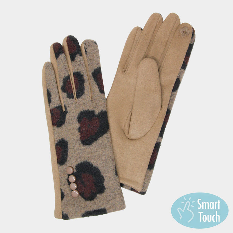 Leopard pattern touch gloves