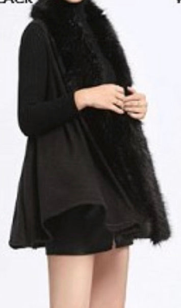 Fur trim swing vest