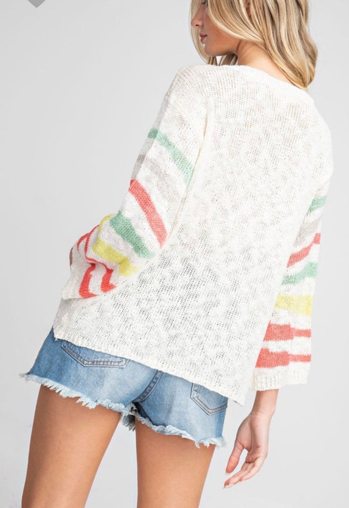 Stripe sleeve casual beach sweater