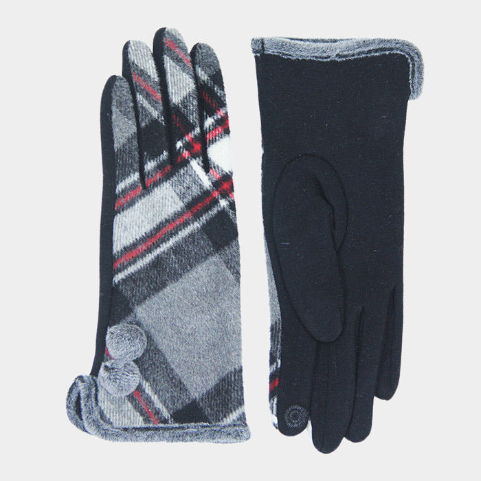 Plaid Pom Pom smart glove