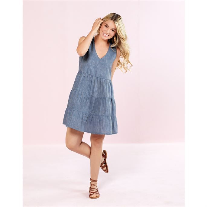 MudPie Ivy Tiered Chambray Dress