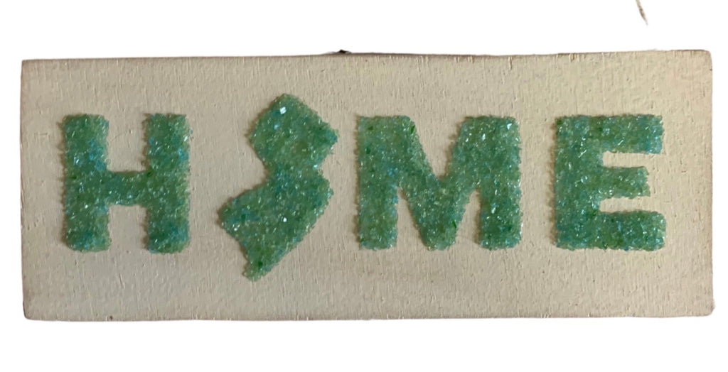 Home mini hanging sign - green glass