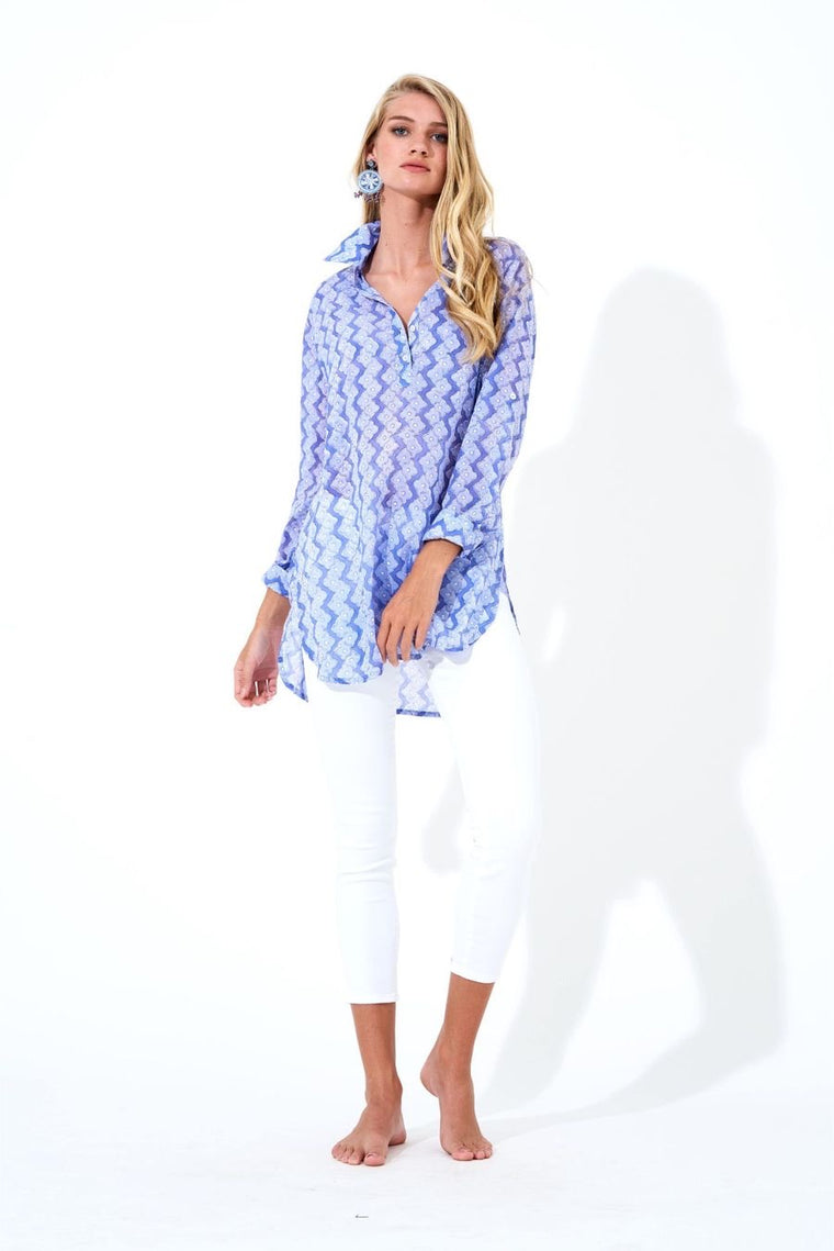Oliphant collared long tunic- Flora periwinkle