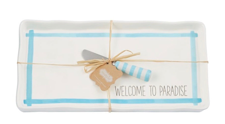 MudPie Welcome to Paradise Tray Set