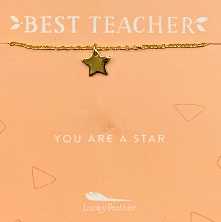 Lucky Feather Best Teacher Necklace (2 options)
