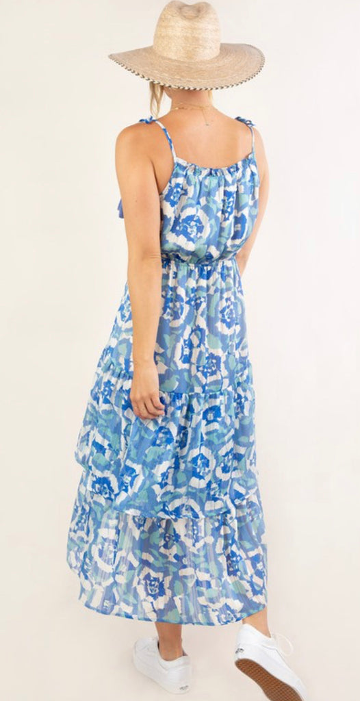 Love Stitch Printed Ruffle Tiered maxi dress