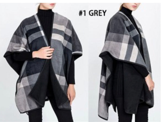 Plaid reversible poncho wrap