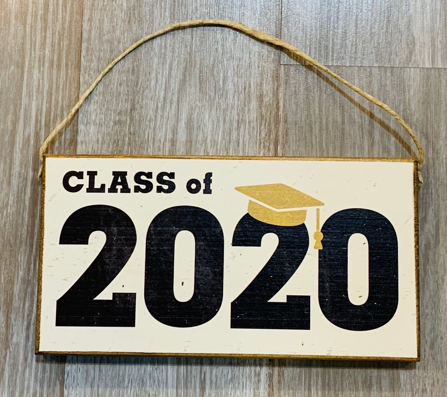 Rustic Marlin Class of 2020 hanging wood plank sign
