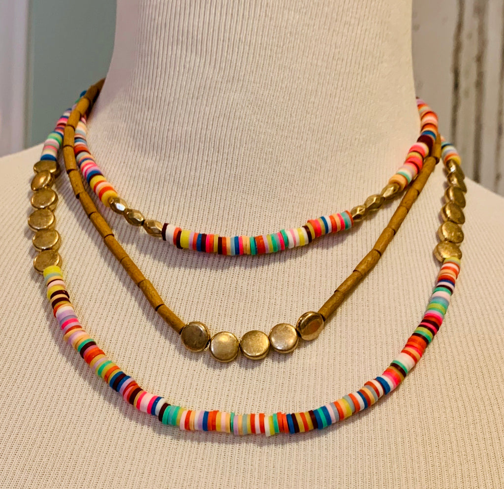 Rainbow short layered necklace