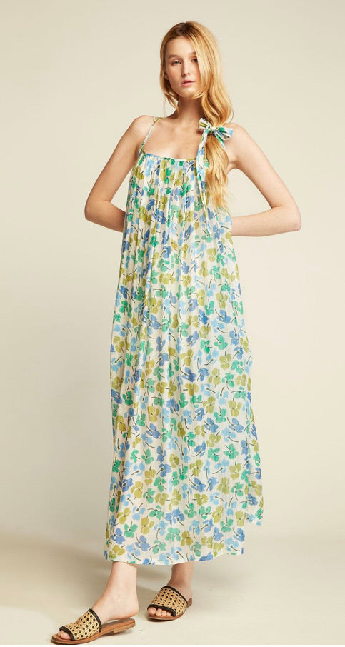 Spaghetti strap maxi dress- green