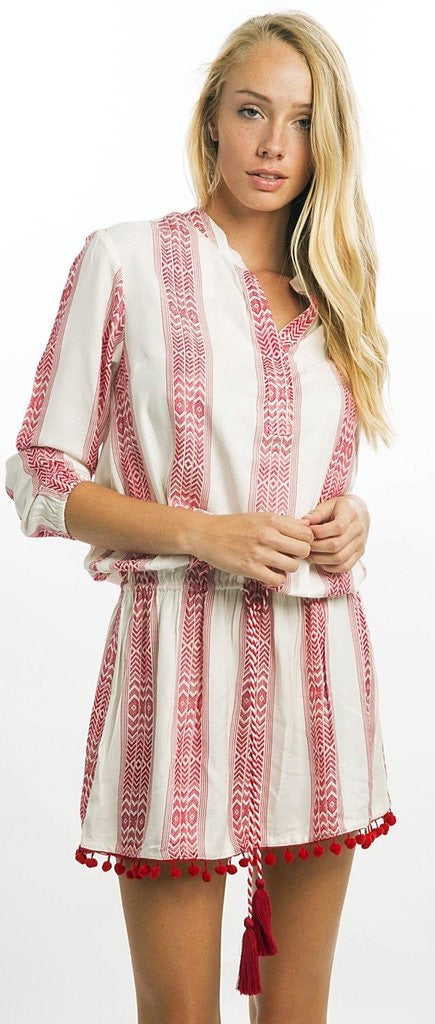 Bindu Charlotte dress - red tribal