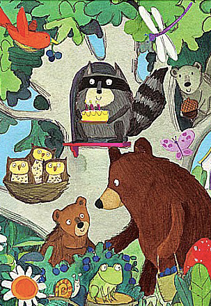 Kid's Birthday Card - Bears and Raccoon