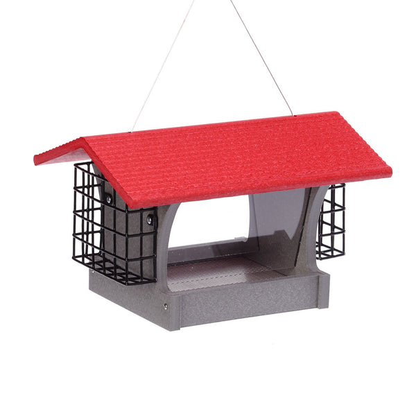 Medium Red Hopper Feeder with Suet Holders