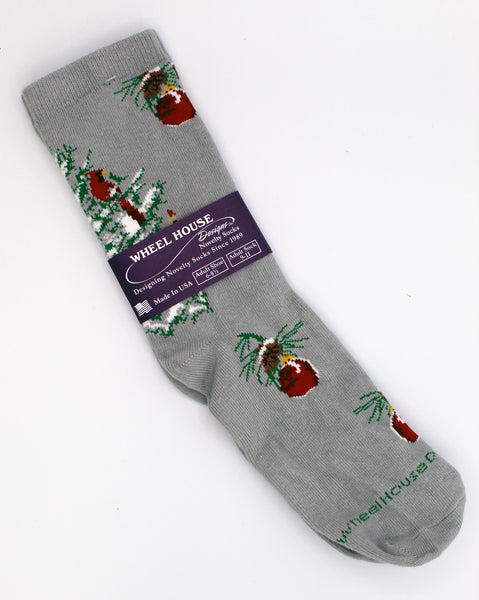 Wheelhouse Socks-Cardinal in a Snowy Tree-Large