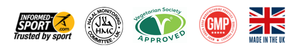 Informed Sport Certified, HMC Halal, Vegetarian Society UK Approved, GMP Approved and Made in UK Multivitamin Product