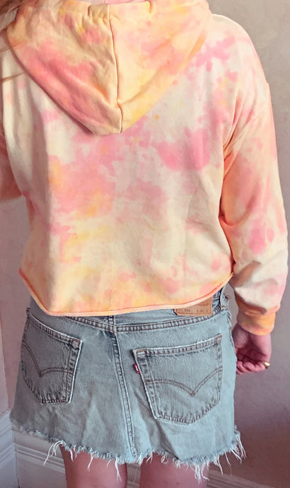 Tie Dye Cropped Hoodie - Orange and Pink