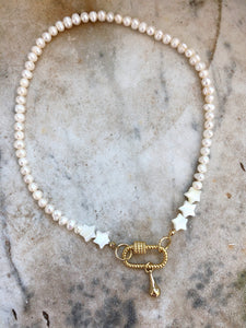 Gold Clasp with Real Pearls Necklace