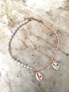 Shell and Fresh Water Pearl Beaded Necklace