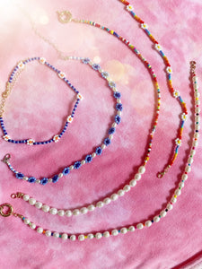 Choker Beaded Necklace - Blue Multi
