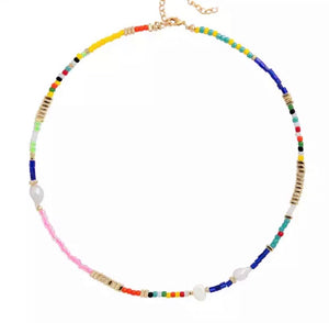 Multi Coloured Beads and Pearl Choker Necklace