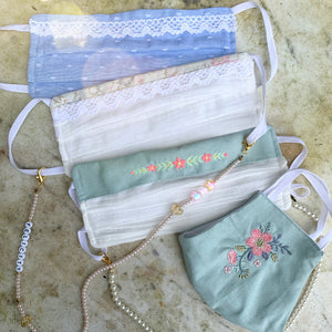 feminine face masks, embroidery, lace, pearl chain, melbourne
