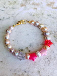 Real Pearl Necklace - Pink Stars
