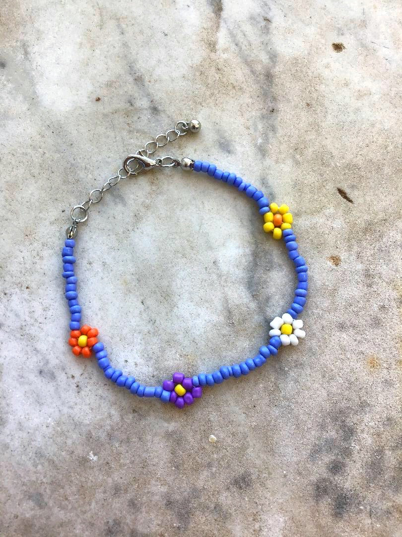 Blue Multi Choker Beaded Bracelet