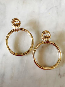gold earrings, vintage style , eyes on floyd, free shipping, accesories