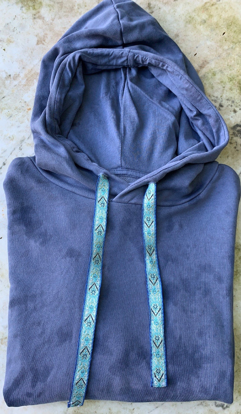 Tie Dye Cropped Hoodie With Aztec Drawstring