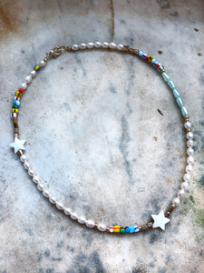 Real Pearl Necklace With Stars