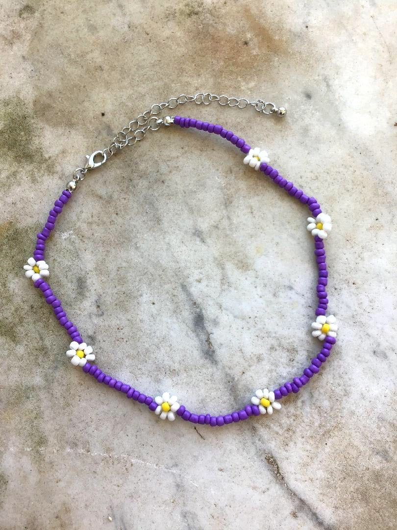 Purple Choker Beaded Necklace