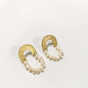 Real Pearl Brass Earrings