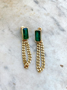 Green And Gold Plated Earrings