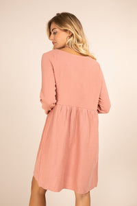 Scalloped Cotton Gauze Dress - Pink