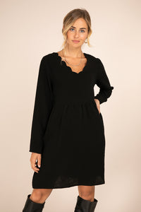 Scalloped Cotton Gauze Dress - Black