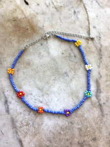 Blue Multi Choker Beaded Necklace