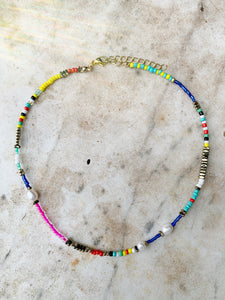 * Pre Order* Multi Coloured Beads and Pearl Choker Necklace